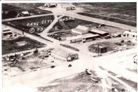 An old black and white aerial photo of Page City